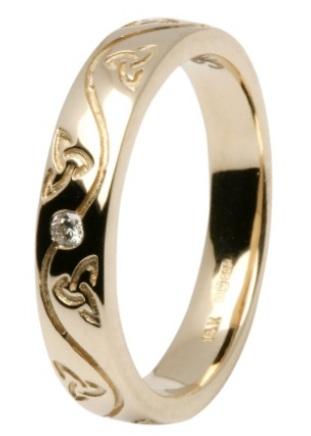 Celtic Yellow Gold Diamond Wedding Ring 14IC53