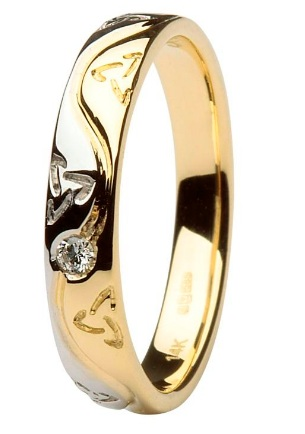 Celtic Two Toned Diamond Wedding Ring 14IC53YW