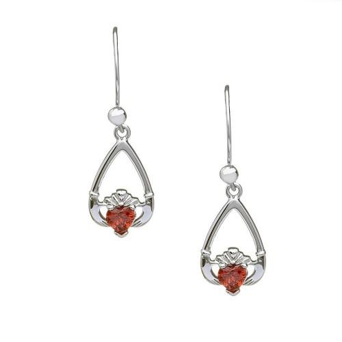 Birthstone Claddagh Earrings