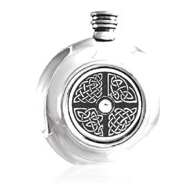 Round Pewter Celtic Flask CEL407