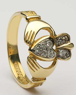 Ladies Diamond Pavee Claddagh CLAD10