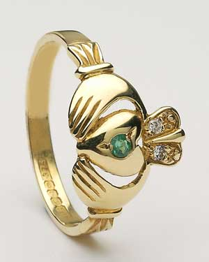 Ladies Diamond and Emerald Claddagh CLAD11