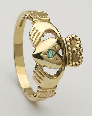 Ladies Emerald Claddagh Ring Medium CLAD2ME