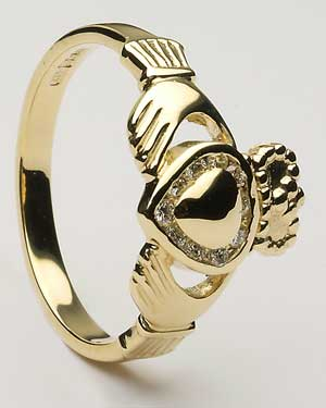Ladies Diamond Claddagh Gold Heart CLAD30D