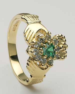 Ladies Diamond & Emerald Cluster Claddagh CLAD31DE