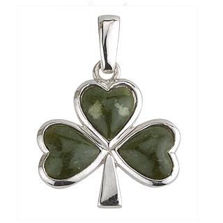Silver Connemara Marble Shamrock Pendant S4332
