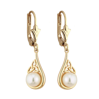 Yellow Gold Pearl Trinity Knot Earrings S33345