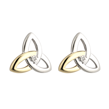 Silver, Gold and Diamond Trinity Stud Earrings S33416