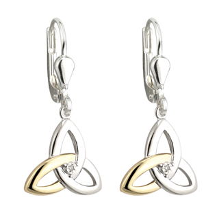 Silver, Gold and Diamond Trinity Drop Earrings S33417
