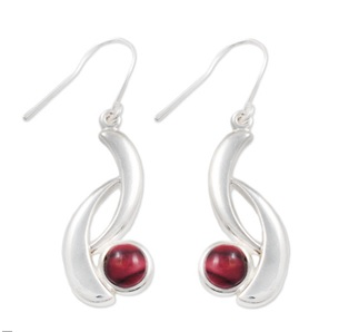 Silver Wishbone Earrings with Heathergems HE13