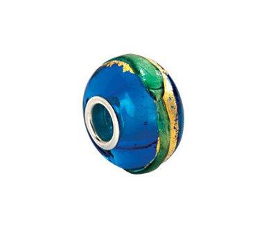 Kera Gold and Aqua Murano Glass Bead 24387