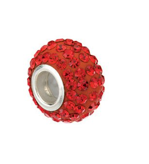 Kera Roundel Bead with Pave Red Crystals 24851