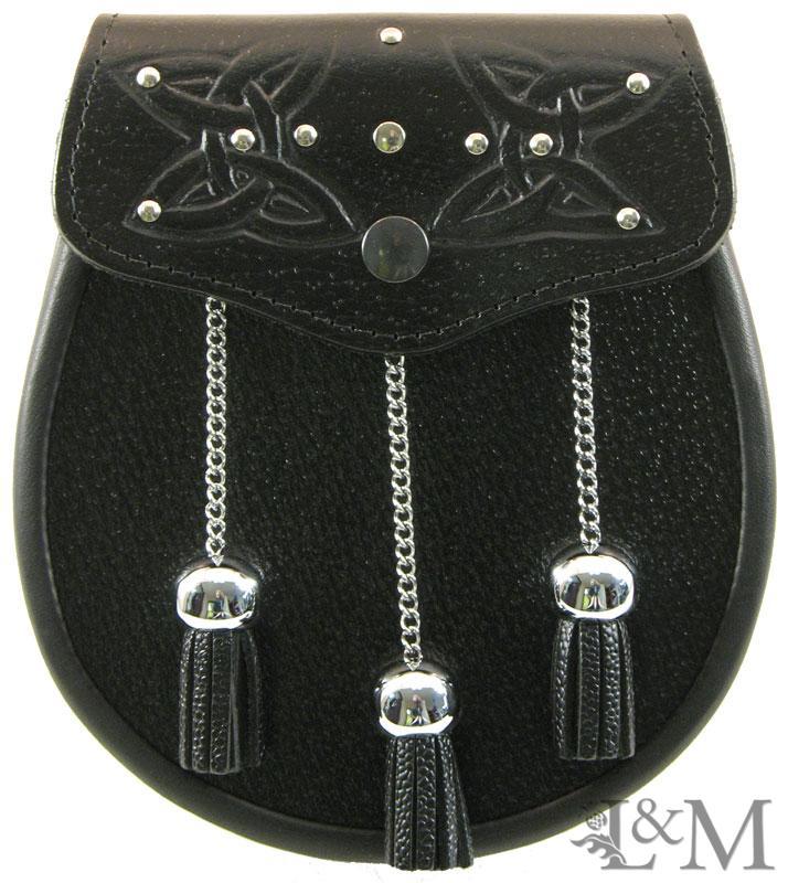 Black Embossed leather Sporran MSL-1002