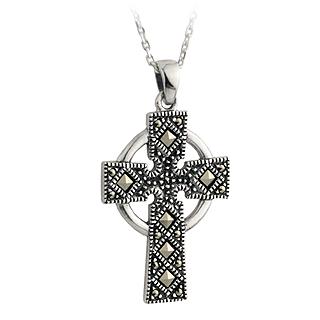 Silver Marcasite Celtic Cross Pendant S4422