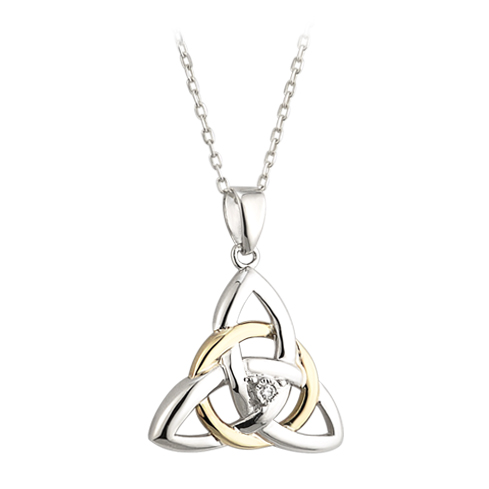 Silver, Gold and Diamond Celtic Knot Pendant S45345
