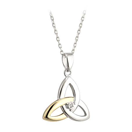 Silver, Gold and Diamond Trinity Pendant S45347