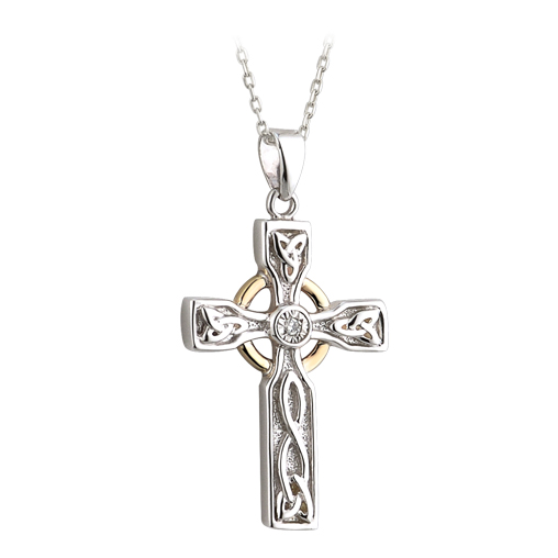 Silver, Gold and Diamond Small Cross Pendant S45351