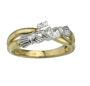 14K Claddagh Crossover Ring S2652