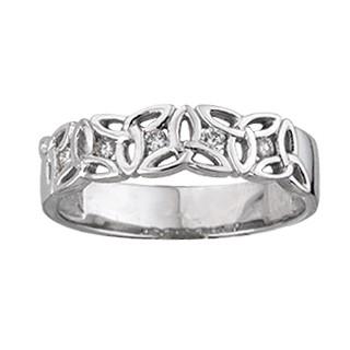 White Gold Diamond Trinity Knot Ring S2720