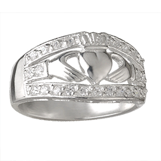 Wide Claddagh Ring CZ S2728
