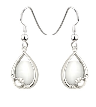 Claddagh Earrings with Colored Stone S33331