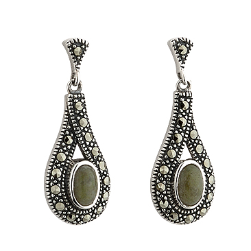 Marble and Marcasite Earrings S33397