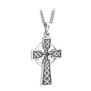 Sterling Silver Embossed Cross on Silver Chain S44761