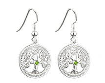 Tree of Life Earrings with Green Stone - S33230