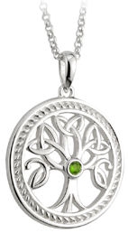 Tree of Life Pendant with Green Stone - S44684