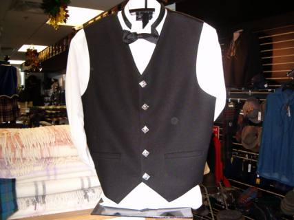 Black Argyle 5 Button Vest