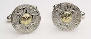 Small Warrior Cufflinks with Bead WCL1B