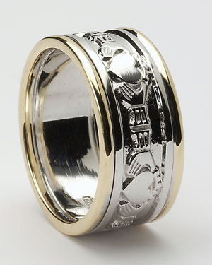 Gents Claddagh Band with Trims WED10