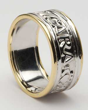 Mens Mo Anam Cara White Gold with Yellow Trim WED188