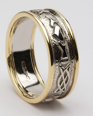 Mens Claddagh Celtic Band with Trims WED248