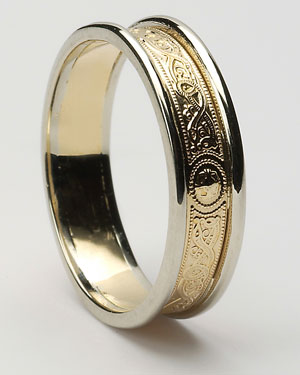 Ladies Narrow Celtic Warrior Shield Band with Trims WED25