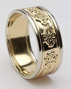 Gents Celtic Cross Band with Trims WED267
