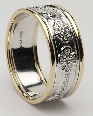 Gents Celtic Cross Band with Trim WED269