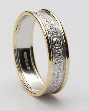 Ladies Narrow Celtic Warrior Shield White Gold Band with Trims WED27