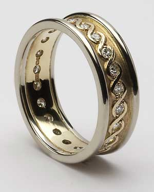 Ladies Celtic Continuity Diamond Set Band with Trim WED75