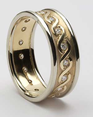 Gents Celtic Continuity Diamond Set Band with Trim WED76