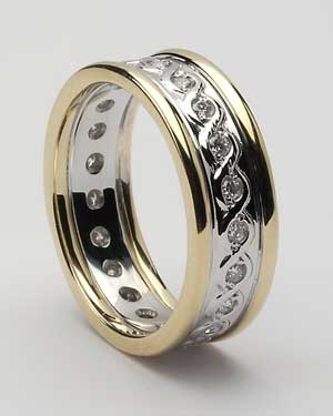 Ladies Celtic Continuity Diamond Set Band with trim Wed77