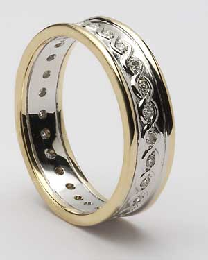 Gents Celtic Continuity Diamond Set Band with Trim WED78