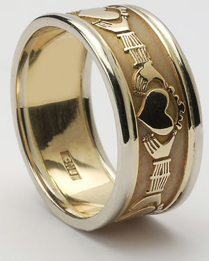 Mens Claddagh Band with Trims WED8