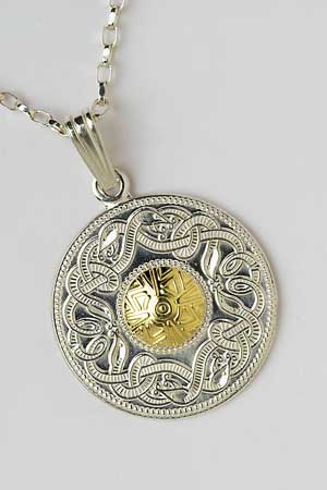 Large Warrior Shield Pendant with 18K Bead WP2B