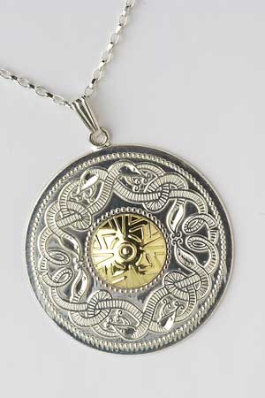 Extra Large Warrior Shield Pendant with 18K Bead WP5B