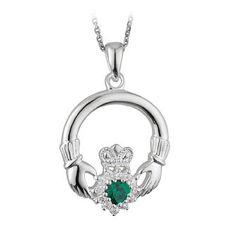 Silver Claddagh CZ Green Stone Pendant S44591