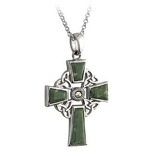 Silver Marcasite Connemara Marble Celtic Cross Pendant S44037