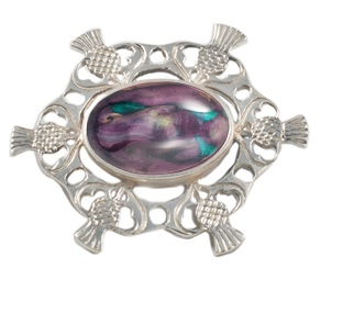 Highland Thistle Silver Plated Heathergem Brooch HB70