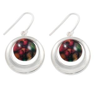 Silver Drop Earrings with Heathergems HE12