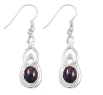 Celtic Silver Plated Drop Earrings with Heathergems HE15